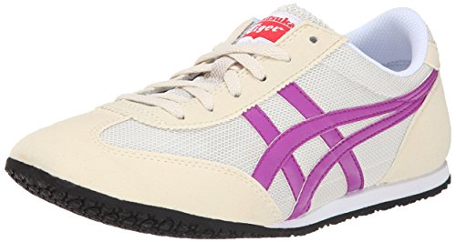 Onitsuka Tiger Women's Machu Racer Classic Running Shoe, Off White/Hyacinth Violet, 6.5 M US