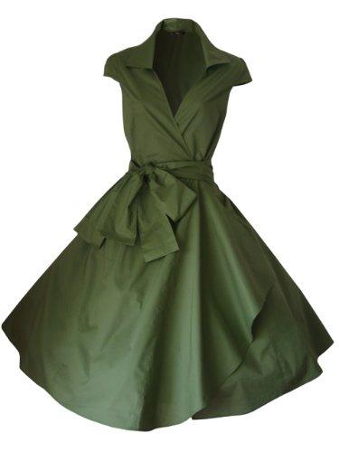 look for the stars Vintage-Kleid im 40er- / 50er-Jahre-Stil, Rockabilly- / Swing- / Pin-up- / Abend- / Party- / Cocktail-Kleid, Baumwoll-Wickelkleid, Größen 32 - 56 Gr. 42, olivgrün