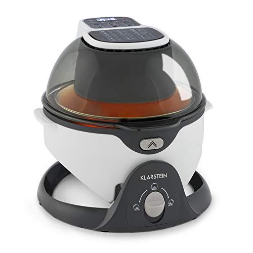 Klarstein VitAir Pommesmaster freidora de aire caliente - 1400 W, de 50-240 °C, sistema de rotación, cocinado a 360°, panel digital, programable hasta 60 min, fuente de calor de carbono, blanco