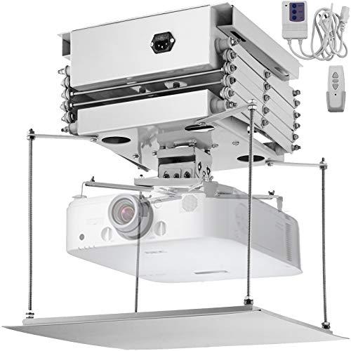 VEVOR Elevador de Proyector para Techo, 500 x 500 x 350 mm Soporte de Proyector para Techo, 30 kg Elevador Eléctrico para Proyector, Proyector Lift, con Control Remoto Inalámbrico para Reuniones