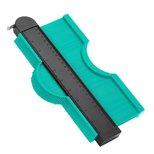 WHATOOK 輪郭ゲージ 型取りゲージ コンターゲージ測定工具 250mm ロック付き 目盛付き 不規則な型取り定規 曲線測定 DIY用測定 ABS樹脂製 緑(グリーン)