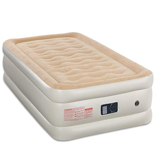 Soft Camping Air Bed Flocked Inflatable Beds with Built in Electric Pump Single Double Optional Portable Lunch Break Air Mattress Beige Sleep (Size : 203×99×45cm)