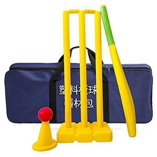 Cricket Bat Juego de Cricket de Plástico para Niños para la Playa del Patio Trasero - Incluye Bate de Críquet, Pelotas, Tocones, Fianzas y Bolsa de Transporte - para Edades Aproximadas de 6 a 10 Años.