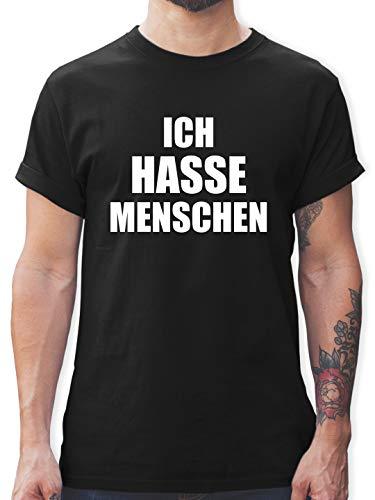 Sprüche Statement mit Spruch - Ich Hasse Menschen - XL - Schwarz - ich Hasse Menschen Tshirt blau - L190 - Tshirt Herren und Männer T-Shirts