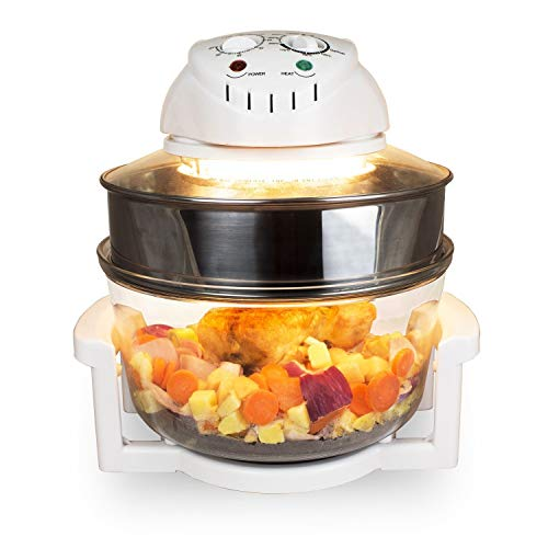 Halogen Convection Oven Cooker 17L with Lid Air Fryer Accessories Glass Bowl Adjustable Temperature & Timer 6 in 1 Halogen Convection Oven for Baking Grill
