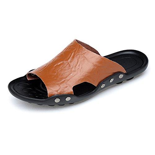 Sandalias de Hombre Deportes de Verano al Aire lib Pantuflas de Playa de Cuero Genuino de Caballero Sandalias de Suela Antideslizante de Caballero (Color : Brown, Size : 38 EU) ✅