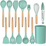 XIZHOUCUN 13 piezas de cocina de silicona utensilios de cocina Set con soporte, Utensilios de mango de madera for la cocina, herramientas de cocina incluyen Espátula Turner cucharas sopa Cucharón Tong