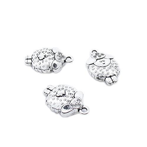 30 piezas de plata envejecida joyería encantos artesanía fabricación arte abalorios suministros PG2Y8W ovejas cabra cordero