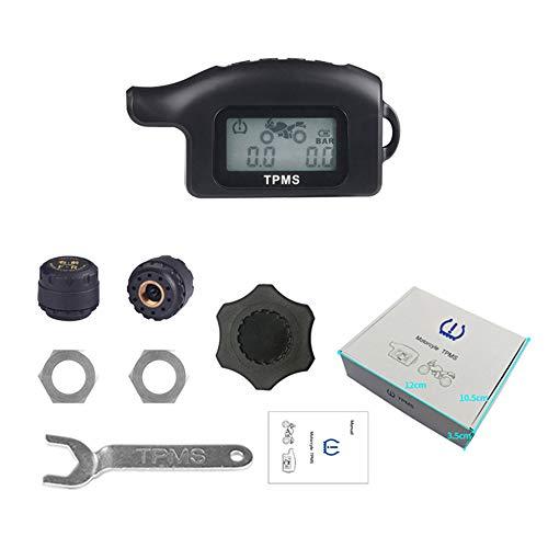 KKmoon Motorrad TPMS Reifendruckkontrollsystem Wireless Reifendruck Messer mit 2 Externe Sensoren LCD Display Alarmfunktion Temperatur Anzeige für Motorrad