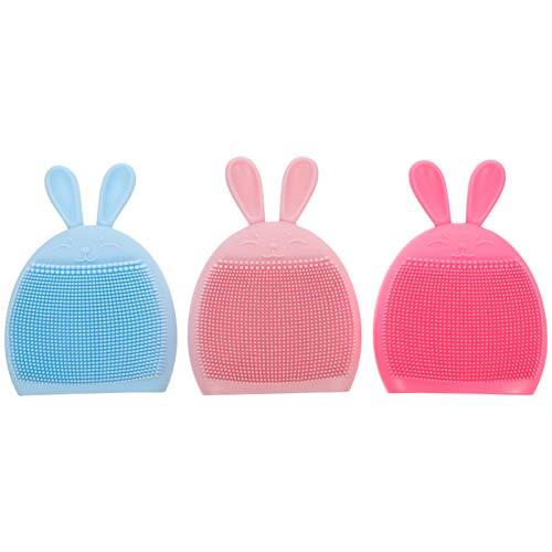OSALADI 3 Piezas Cepillo de Champú para Bebés Forma de Conejito Lindo Cepillo de Baño de Silicona Suave Esponja de Baño Depurador Masajeador de Cuero Cabelludo para Niños Pequeños Colores