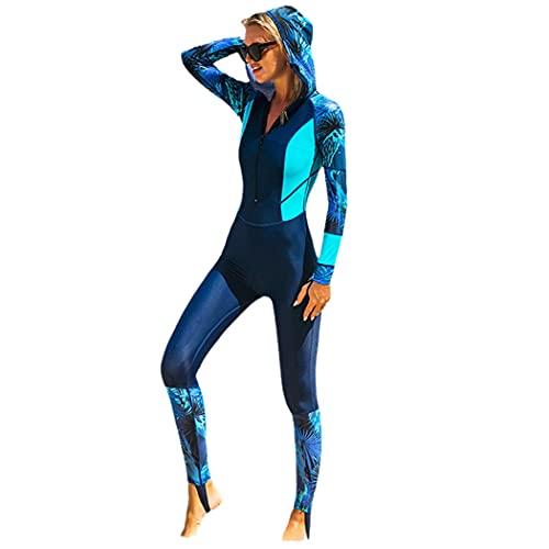 LIOPJH Lycra de una pieza de manga larga de cuerpo completo buceo traje de neopreno, protector de erupción con gorra mujeres vintage traje de baño surf traje