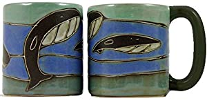 One (1) MARA STONEWARE COLLECTION - 16 Oz Coffee Cup Collectible Dinner Mug - Whale Ocean Blue Design