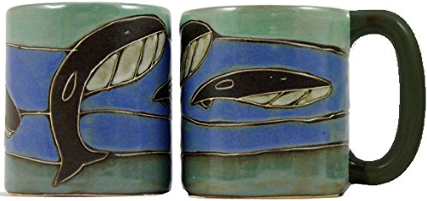 One 1 MARA STONEWARE COLLECTION 16 Oz Coffee Cup Collectible Dinner Mug Whale Ocean Blue Design