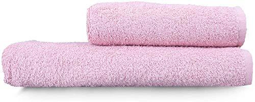 Juego de toallas de baño – rosa seca – algodón turco natural – 2 piezas (50 x 90 cm + 70 x 140 cm) suave, lujoso, duradero, elegante absorbente y elegante