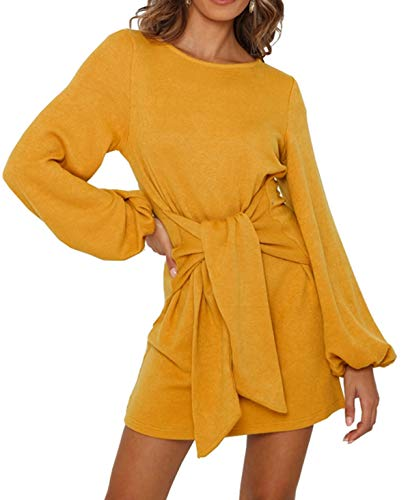 R.Vivimos Women's Autumn Winter Cotton Long Sleeves Elegant Knitted Bodycon Tie Waist Sweater Pencil Dress (Large, Yellow)