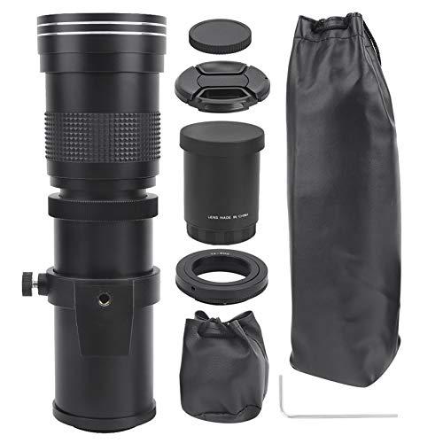 望遠レンズ、ポータブル420‑800mm F8.3‑16マニュアルフォーカスズーム望遠レンズキヤノンEFマウントカメラ用望遠鏡(black)