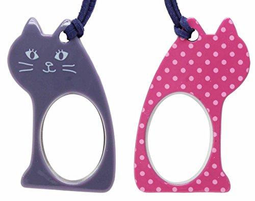 Lente(レンテ)・ペンダントルーペ PR-017-4 座ニャン かわいい猫型ルーペ 母の日・敬老の日・お誕生日などのおしゃれなプレゼントにも! (パープル×ピンクドット)
