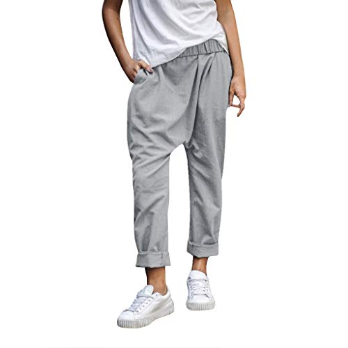 WOZOW Saggy Hosen Damen Haremshose Pumphose Casual Long Lang Loose Lose Solid Einfarbig Bettwäsche Baumwolle Tapered Jogginghose Laufhose Sweathose Sporthose Low Waist Baggy Yoga Trousers