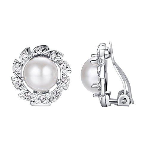 Yoursfs - Orecchini a clip con perle, semplici, da donna o ragazza, come accessorio o idea regalo per anniversario, San Valentino e Fede, colore: bianco, cod. E218W1