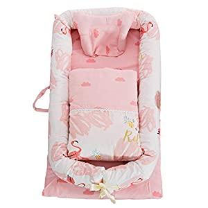 ABREEZE Baby Lounger,Infant Lounger,Newborn Lounger: Breathable,Hypoallergenic-Perfect for Co-Sleeping,Cotton Portable Travel Infant Bed,Crib,Bassinet,or Polar Bear Baby Nest