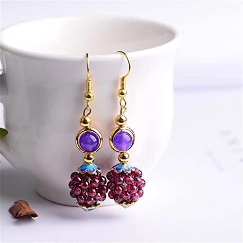 JKLJKL 1 par de Pendientes de Bola de Granate Natural Hembra Piedras de Colores Pendientes Pendientes de Punto Earings Étnic Joyas Regalo (Metal Color : Purple Stone)
