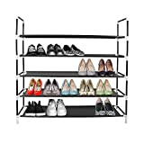Azadx 5 Tiers Shoe Rack, Free Standing Non-Woven Fabric Shoe Tower Storage Organizer, Space-Saving Shoes Cabinet Closet Organizer, 39' L Holds 20-25 Pair of Shoes Black