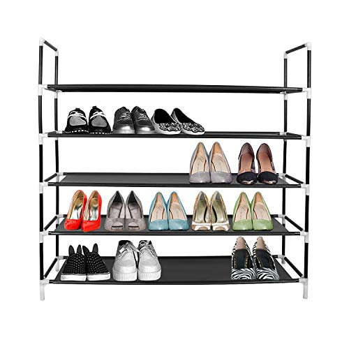 "Azadx 5 Tiers Shoe Rack, Free Standing Non-Woven Fabric Shoe Tower Storage Organizer, Space-Saving Shoes Cabinet Closet Organizer, 39"" L Holds 20-25 Pair of Shoes Black"