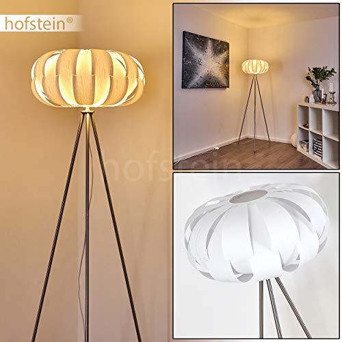 Stehlampe Zobus, moderne Stehleuchte aus Metall/Kunststoff in Nickel-matt/Weiß, 1 x E27-Fassung, max. 60 Watt, Ø 45 cm, Höhe 149 cm, Leuchte in Holzoptik m. Fußschalter am Kabel, LED geeignet
