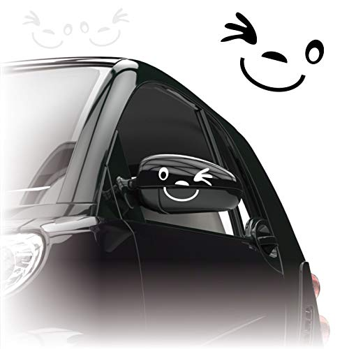 Gesicht Autoaufkleber *** 2er Set *** Aufkleber für Auto Spiegel Außenspiegel Smile |KB801