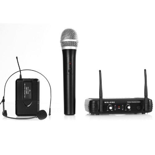 Malone UHF-250 Duo juego de micrófonos inalámbrico (UHF, 2 canales, un micrófono de cabeza, un micrófono de mano inalámbrico, batería de larga duración, clip para el cinturón)