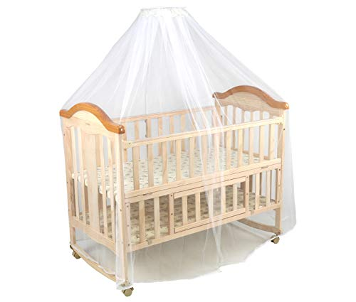 LuvLap C-70 Baby Wooden Cot with Rocker (Beige) Without Mattress