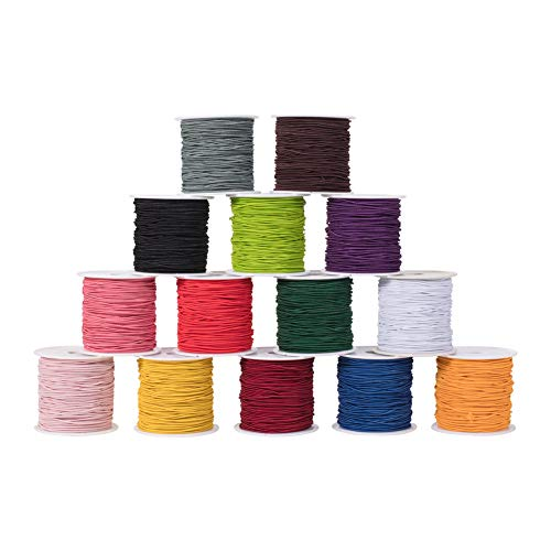 PH PandaHall 14 Rolls 23 Yards/Roll 1mm Elastic Cord Beading Thread Stretch String Craft Cord for Bracelet Necklace Jewelry DIY Craft Making 23 Colors