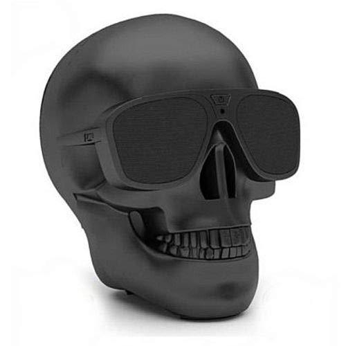 Altavoz INALÁMBRICO PORTÁTIL Bluetooth ESTÉREO Altavoces para MÓVIL MP3 MP4 PC PORTÁTIL Calavera Skull (Negro)