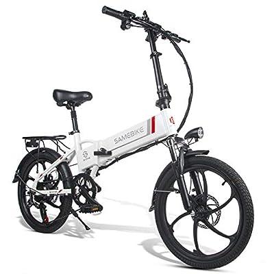 Coolautoparts Elektrofahrrad Ebike Mountainbike Klapprad 20 Zoll mit 48V 10,4Ah Lithium-Akku, 350 W Motor 25 km/h, 7-Gang-Diebstahlalarm Smartphone-Halter Elektrische E-Bike MTB für Herren Damen