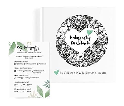Illustrations by Renee Babyparty Gästebuch mit KOSTENLOZEM Babyparty Quiz! Eine schöne und...