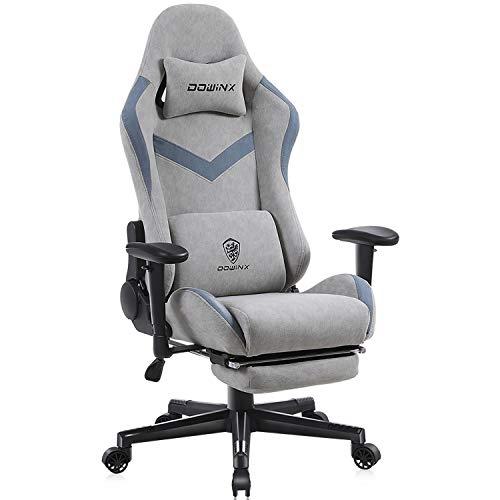 Dowinx Gaming Stuhl Bürostuhl mit Massage-Lendenwirbelstütze, atmungsaktiver Stoff hohe Rückenlehne Verstellbarer Drehstuhl mit Fußstütze Grau