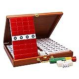 Qks Portable Mahjong Tiles Boutique Mahjong Set Box Accessoires complets Mahjong Set Mahjongg Mah Jongg Sets Outdoor Casual Board Games Parfait pour Offrir des Cadeaux