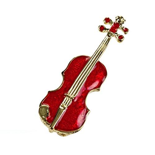 Spilla violino smaltata per capotto giacca vestito fazzoletto da collo blusa borsa dipinto a mano...