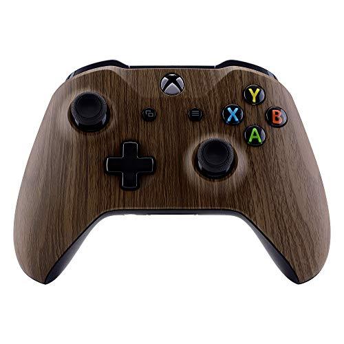 eXtremeRate Hülle für Xbox One S/X Controller,Gehäuse Case Schutzhülle Hülle Cover Oberschale Skin Housing Kit Schale Shell für Xbox One S/Xbox One X Controller(Holzmaserung)