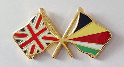 Lot de 1000 badges à épingle représentant deux drapeaux symbolisant l'amitié entre les Seychelles et le Royaume-Uni