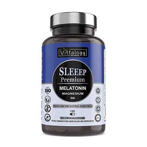 Vittalogy Sleeep Premium, Sonniferi Pure 1,8 Mg Melatonina, Griffonia Estratto Di Semi Con 5 Htp, Valeriana, Magnesio E Vitamina B6, 120 Capsule