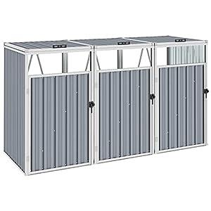 vidaXL Triple Dustbin Storage Metal Grey