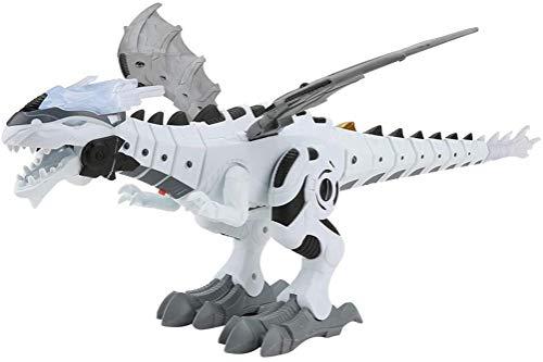 Walking Dinosaur-Dragon Hybrid Toy, Robot de rociado de niebla Juguete de dragón, Juguete de dragón que camina Dinosaurio de rociado de agua para respirar fuego, luces intermitentes Robot (Blanco)
