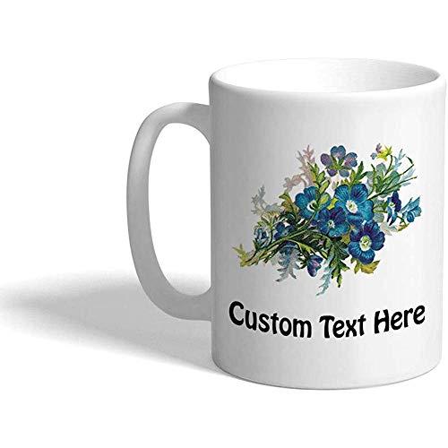 Gewohnheit Kaffeetasse 330 ml Blaue Blumen-botanische keramische Tee-Schale personalisierter Text