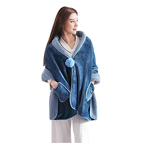 Manta de chal cálida manta de franela para uso al aire libre, manta de felpa para viajes espesar manta de dormitorio (azul oscuro)