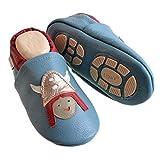 Liya's #644 - Zapatillas de estar por casa con suela de goma, diseño vikingo, color azul pastel, talla 27/28