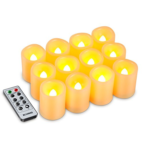 Kohree Flameless Candles LED Battery Candles with Timer Remote Control LED Pillar Votive Unscented Ivory Remote Candles Amber Yellow Flame Pack of 12