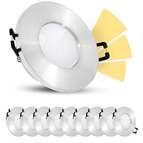 10 Stück linovum ISASO Bad Einbauleuchte IP65 mit fourSTEP Dimmen ohne Dimmer - LED GU10 5W warmweiß Spot 230V rund gebürstet