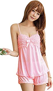 Anna Mu ランジェリー ルームウェア 部屋着 ショートパンツ ナイトウェア ピンク フリル リボン 女性用 大人用 z840c