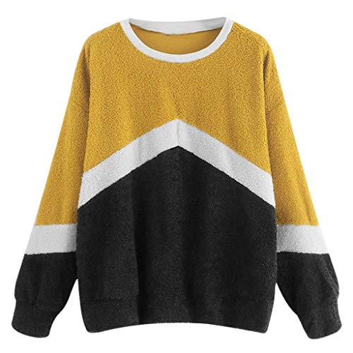KIMODO Pullover Damen Langarm lose Casual Tumblr Sweatshirt Korean Fashion Rundhals Farbblock Patchwork Elegante Tops Bluse (Gelb, L)
